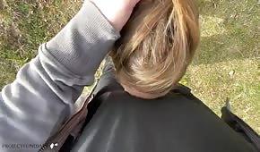 Amatérský venkovní sex s blond