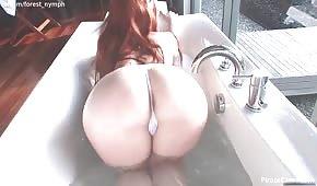 Busty vixen masturbuje při koupání