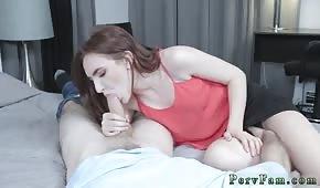 Skinny vixen sucks a cock before sex